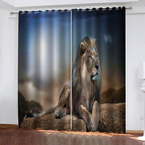 ZZZXX Cortinas Ojales León Animal Africano De Piedra 70X160cm Moderno Ventana Salon Paneles con Ojales para Sala Cuarto Comedor Salon Cocina Habitación