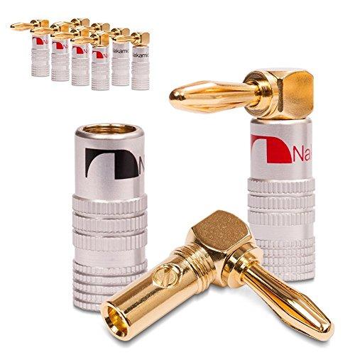 Vimmor - Conectores de audio tipo banana con ángulo de 90 grados a la derecha, chapados en oro de 24 quilates para cable de altavoz, resistentes a la corrosión, 4 unidades, 2 negros y 2 rojos