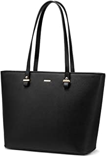 LOVEVOOK Computer Bags for Women Leather Tote Bag Laptop Handbag Work Purse,13.3-Inch, Black