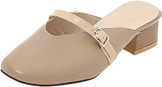 RizaBina Women Classic Mules Backless Sandals Cozy Block Heels Closed Toe