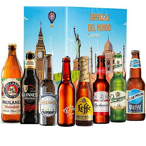 Pack Cervezas del Mundo, premium internacional: Straroplamen, Blue Moon, Santa Monica, Guiness, Modelo Negra, 18/70, Budweiser, Leffe Blonde I Ideas para regalar