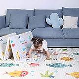 Fascol Alfombra de Juegos de XPE Reversibles de Doble Cara, Alfombra Infantil para Niños Pequños y Bebés, Impermeable, Plegable y Antideslizante, 200 X 180 cm