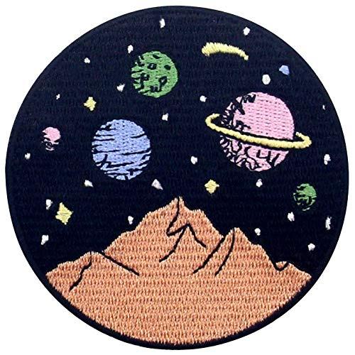Aufnäher, bestickt, Design: Berge mit Galaxie Weltraum-Szene, zum Aufbügeln oder Aufnähen