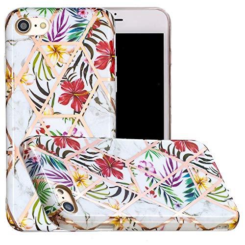 Miagon Marmor Hülle für iPhone 6 Plus/6S Plus,Dünn Weich Silikon Flexible Handyhülle Schutzhülle Galvanisiert Marble Bumper Handytasche Zurück Cover Gummi,Blatt Blume