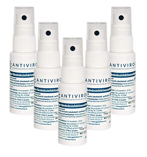 ANTIVIROL Händedesinfektionsmittel 5 x 30ml | Handdesinfektion farbstoff & parfümfrei | Hand-Hygiene Sterillium zum Nachfüllen | Hautfreundlich ohne Austrocknen |...