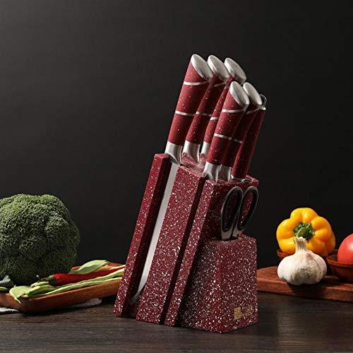 7 en 1 Cuchillos de cocina Set CHEFS CUCHILLO PAN UTILIDAD DE PAN DE CLEAVER CUCHILLO DE CUCHILLA DE APAGADO HOJA SACUCADO DE MADERA cuchillos (Color : Red Knife Set)