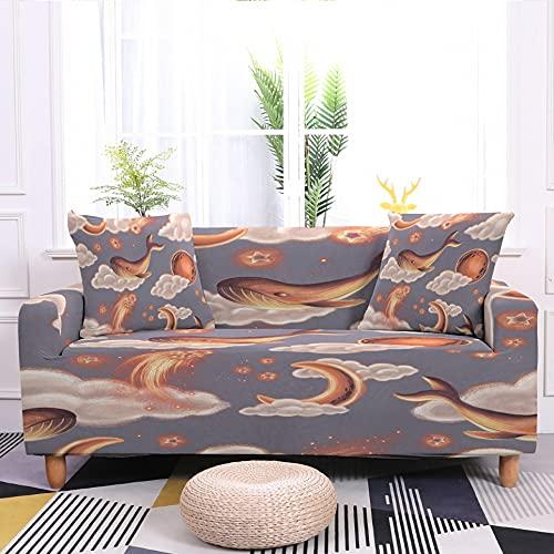 WXQY Juego de Fundas de sofá elásticas con patrón de Luna y Estrellas Funda de sofá Universal de Cuatro Estaciones Funda de sofá Antideslizante A5 2 plazas