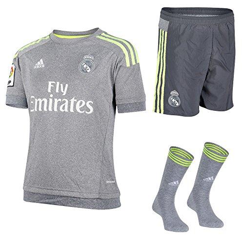 Real Madrid FC Adidas Fußball-Set für Kinder, Trikot, Shorts und Socken S Grau/Limettengrün
