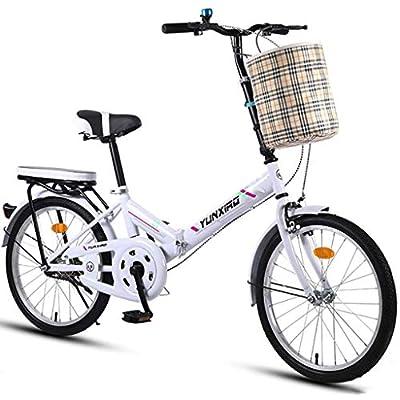 zytyeu Folding Bicycle 20 Inch Men and Women Lightweight Folding Bike Bicycle Adult Portable Car Double Disc Brake Folding Bike (Color : White)