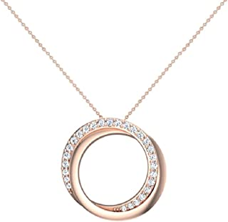 """14K Gold Necklace 0.61 ct tw Diamond Pendant Intertwined Circles with 18"""" Chain (G,VS) Signature Rare Quality"""