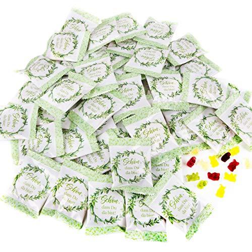 Logbuch-Verlag 50 Give-Aways Gummibärchen Päckchen grün weiß floral - Gastgeschenk Hochzeit SCHÖN DASS DU DA BIST - Hochzeitsdeko Süßigkeit