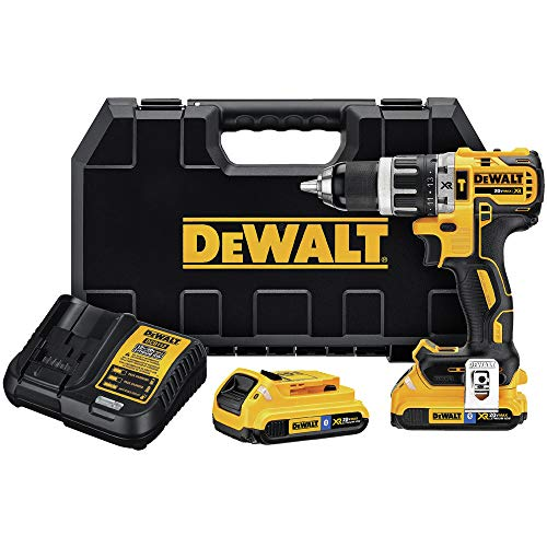 Dewalt DCD796D2BTR 20 MAX XR Brushless Compact Lithium-Ion 1/2 in. Cordless 2-Speed Hammer Drill Kit with (2) Bluetooth Batteries (2 Ah) (Renewed)