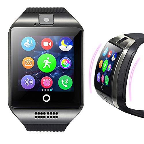 Smartwatch Q18 Smart Uhr Telefon Bluetooth Uhr Unterstützung SIM TF Karte Kamera HD Touch Screen Armbanduhr Kompatibel mit Android Smartphone_Colorful (Schwarz)