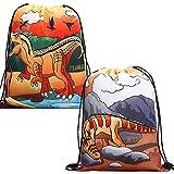 Drawstring Backpack Dinosaur Bag for Birthday Party Favor Gift 2 Pack Drawstring Goody Bags,Tyrannosaurus Heterodontosaurus