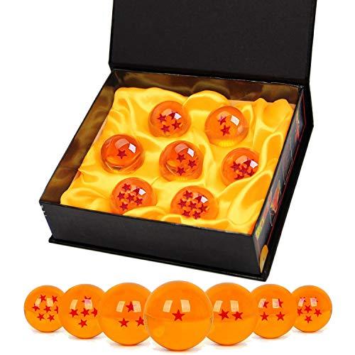 TATAFUN Bolas del Dragón, 7 PCS Dragon Ball Dragonball 1 a 7 Estrellas con Caja de Regalo, Bola de Cristal Transparente,decoración K9- Diámetro 4,3cm