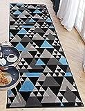 Carpeto Rugs Teppich Läufer Flur - Modern Teppichläufer – Kurzflor, Weich - für Küche Vorzimmer Eingangsbereich Schlafzimmer - Meterware 100 cm Breit - Grau Blau 100 x 200 cm