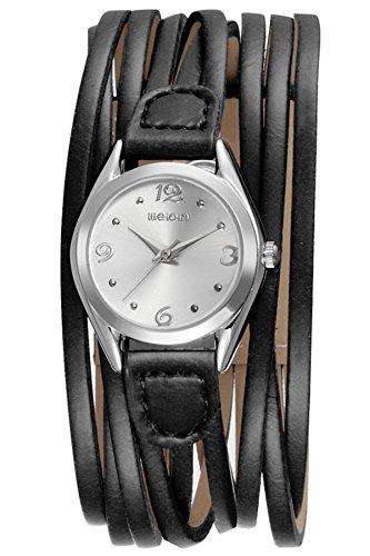 Findtime Damen Analog Uhr Quarzwerk mit Leder Wickelarmband Schwarz Elegant Vintage