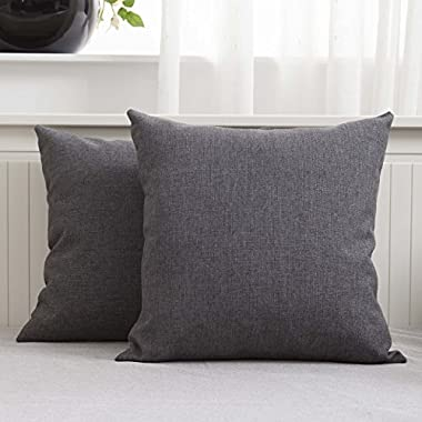 HOME BRILLIANT Decorative Slub Linen Textured Square Throw Cushion Covers Toss Pillow Shams for Bed, Set of 2, 18  x 18 , Dark Grey