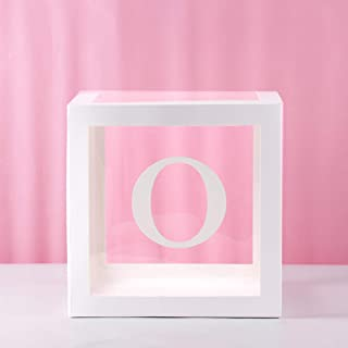 Baby Shower Decorations Transparent Balloon Box - White Cube Box With Letter O For Birthday Party Engagement Party Wedding Decorations