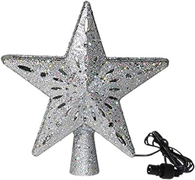 #N/A Ledクリスマスツリートッパースタートップ投光ランプクリスマスパーティーの装飾ホームベッドルームリビングルーム - シルバー