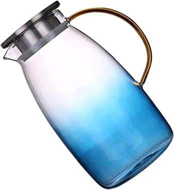 Hemoton Glass Pitcher Water Carafe Gradient Color Beverage Pitcher Airtight Cold Water Jug with Stainless Steel Lid for Juice