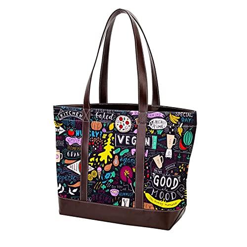 NaiiaN Bolso de compras Ligero Correa Pizarra Lettering Art Sign tiza de comida para madres Mujeres Niñas Señoras Bolsos para estudiantes Bolso de mano Bolsos de hombro
