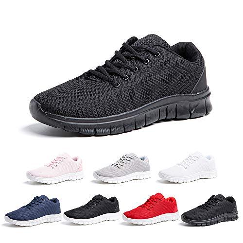 Zapatillas Running Hombre Zapatos Deportivos con Cordones Casuales Sneakers Sport Fitness Gym Outdoor Transpirable Comodas Calzado Negro Talla 44