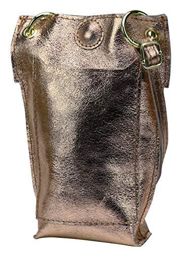 SH Leder Damen Echtleder Umhängetasche Handytasche Geldbörse Multifunktion Beutel Mini Bote Abnehmbar Verstellbar Schultergurt Handy bis 6,8 Zoll 14x20cm Jessy G298 (Bronze Metallic)