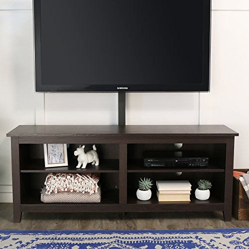 Walker Edison Wren Classic 4 Cubby TV Stand for TVs up to 65 Inches with Mount, 58 Inch, Espresso