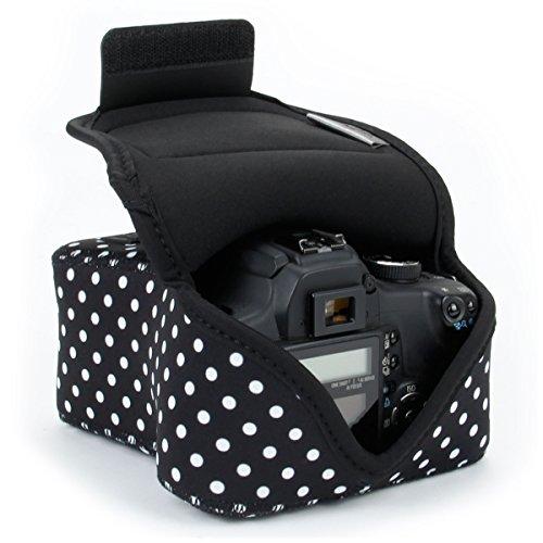 USA Gear DSLR - Funda para cámara Digital con protección de Neopreno, Correa para cinturón y Accesorios de Almacenamiento, diseño de Lunares, Compatible con Canon, Nikon, Sony, Olympus, Pentax, etc.