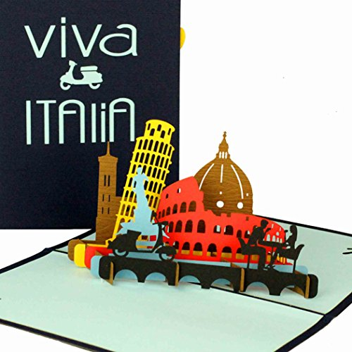 """3D Pop Up Karte """"Viva Italia"""" - Italien Urlaub Grußkarte, Italienkarte als Geburtstagskarte, Reisegutschein Italien, Geschenkgutschein, Glückwunschkarte PopUp, Gutschein Italien Rundreise, Klappkarte"""
