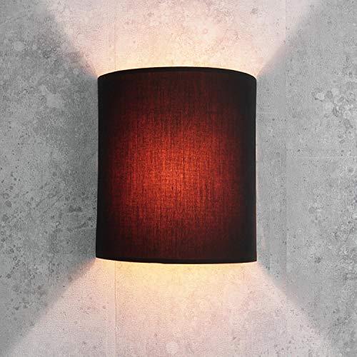 Wandleuchte Loft im modern Stil schwarz Stoffschirm 1x E27 bis max. 60W 230V Wandlampe innen kompakt Beleuchtung Wohnzimmer Schlafzimmer