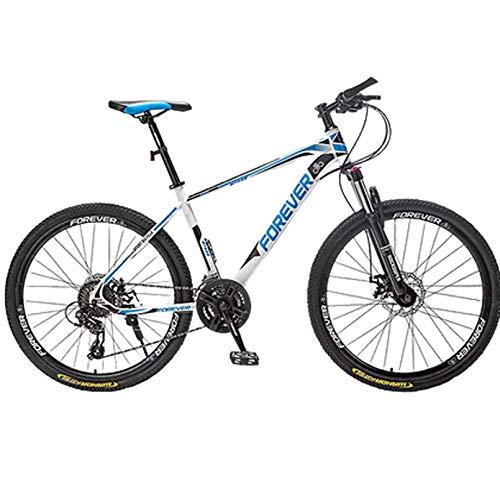 30 velocità Mountain Bike/Biciclette, 24/26 / 27,5 Pollici in Acciaio al Carbonio Hardtail MTB per Mens Donna Alunno,White And Blue,27.5 inch