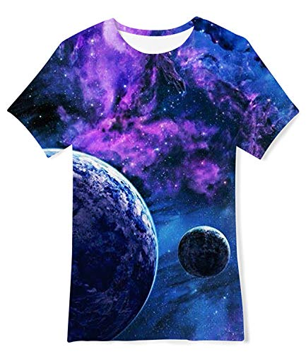 Enlifety Tee Shirts for Kids Summer Casual Wear T-Shirts Graphic Top Tee Planet 3D Printed Tshirts for 6-8 Years