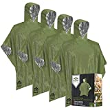 Emergency Blankets and Mylar Rain Poncho (4 Pack) Survival Gear and Equipment – Tough, Waterproof Camping Outdoor Blanket – Retains 90% Body Heat + Reflective Side for Increased Visibility (Green)