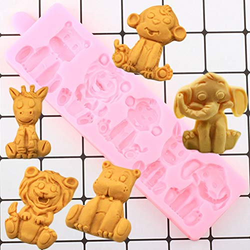 N/ A 3D Löwe Elefant Bär Silikonform Tiere Fondantformen DIY Kuchen Dekorationswerkzeuge HarzSüßigkeiten Schokolade Gumpaste Form