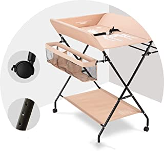 Portable Changing Mats Diaper Table Multifunctional Nursing Massage Bath Baby Foldable Changing Table (Color : Beige, Size : 80 * 63 * 96cm)