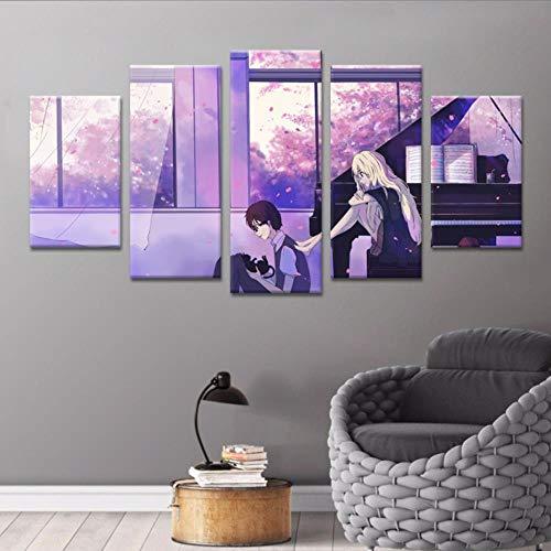 WJY April es tu Mentira Tu Mentira en Abril Anime japonés Cinco Piezas de decoración de Rompecabezas Pinturas de Sala de Estar, Pintura Marco 30x50cmX2 + 30x70cmX2 + 30x80cm, 3