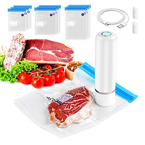 Cucinella Mini Vakuumiergerät,Mini Vakuumiergerät mit 9 Waschbaren und Wiederverwendbaren Vakuumbeuteln,Vakuumiergerät Klein Tragbar im Freien zur Lebensmittelaufbewahrung verfügbar