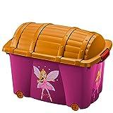 Deuba Caja de almacenamiento infantil para juguetes baúl organizador con tapa ruedas 50L Diseño hada 60 x 40 x 43cm