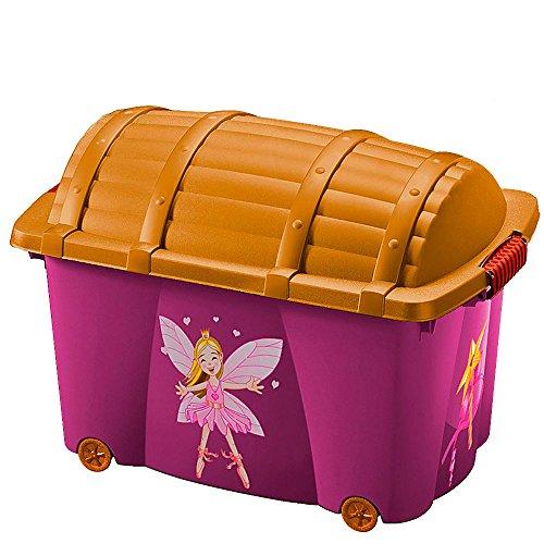 Aufbewahrungsbox für Mädchen 'Fee' | 50L | mit Deckel | mit 4 Rollen | vielseitig einsetzbar - Spielzeugkiste Spielkiste Schatzkiste Spielbox Rollbox Container Box