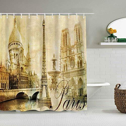 N\A Cortina de Ducha París Torre Eiffel Francia Viajeros Vintage Romance Recuerdos Imagen Cortinas de baño Impermeables Ganchos incluidos - Ideas Decorativas de baño