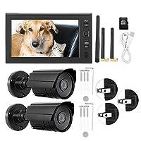 ワイヤレスモニターカメラディスプレイキット、7インチLCDワイヤレスWIFI 4CHセキュリティモニターシステムディスプレイカメラ、8G TFカード付き(USプラグ110-240V)