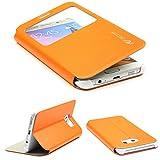Urcover Funda Compatible con Samsung Galaxy S6 Edge Plus S-View Carcasa con Tapa Libro Funcion Soporte, Flip Case Delgada protección Pantalla con Ventana Wallet Cover - Naranja