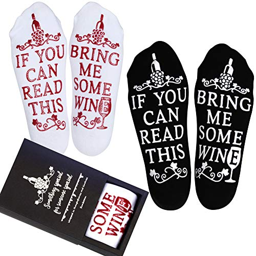 Wine Gifts for Women Men, Christmas Funny Unique Gifts for Mom Dad Grandma, Birthday Gift Ideas, If You Can Read This Bring Me Some Wine Socks, Stocking Stuffers Wine Accessories and Gift (Two Pairs)