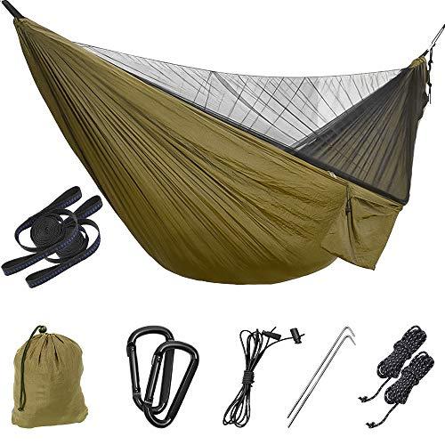 Uponer Camping Hamac Moustiquaire en Nylon Parachute portatif Ultra-léger de Voyage avec Câbles de Voyage et mousquetons pour la randonnée pédestre Voyage,Camping en Plein air, randonnée,Cour
