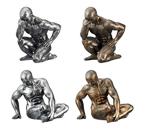Cepewa Skulptur Silber/Anthrazitfarben Muskelmann Figur Statue Wohnaccessoire