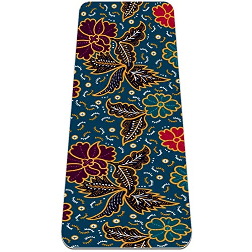 BestIdeas Esterilla de yoga con diseño floral, color azul vintage para yoga, pilates, ejercicio de suelo para hombres, mujeres, niñas, niños, principiantes, diseño antideslizante