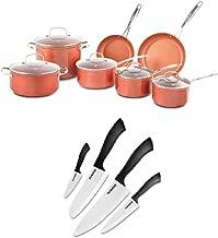 NuWave Duralon Ceramic 12-Pc Cookware Set Bundle with Nuwave 4-Piece Knife Set (2 Items)