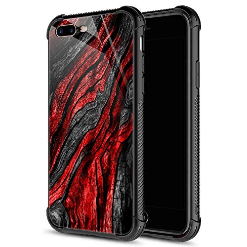 iPhone 8 Case,Black Red Wood Grain iPhone 7 Cases iPhone SE 2020 Cases for Men Boys,9H Tempered Glass Graphic Design Shockproof Anti-Scratch Tempered Glass Case for Apple iPhone 7/8/SE2